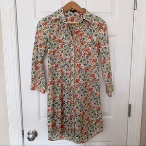 Theory Floral Button Down Shirt Dress Tunic Sz 4